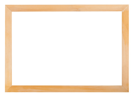 modern simple narrow wooden picture frame with cut out blank space isolated on white background Stock Photo