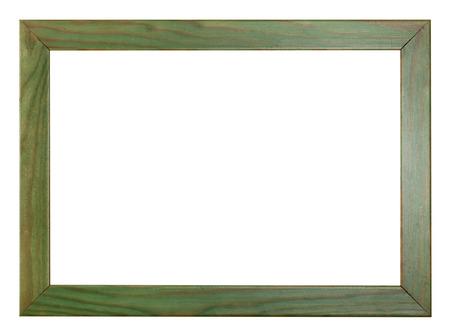 ritagliare: verniciato verde piatto cornice di legno con ritagliato uno spazio vuoto isolato su sfondo bianco