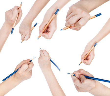 wooden pencil: set of hands draw by blue pencil isolated on white background Stock Photo