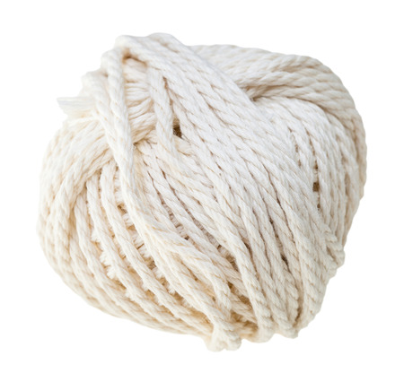 ravel: white hank of cotton rope isolated on white background Stock Photo