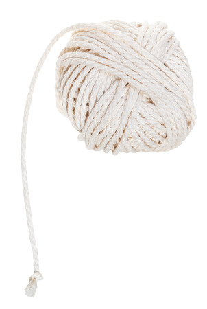 ravel: white ball of cotton rope isolated on white background