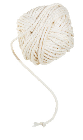 ravel: white clew of cotton thread isolated on white background Stock Photo