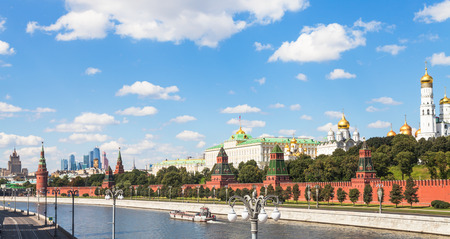 moskva river: Moscow skyline - view of Kremlin embankment from Moskva River in sunny summer day Editorial