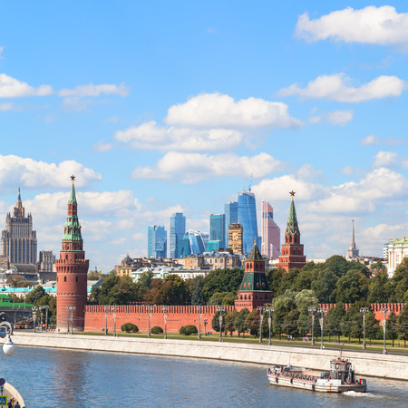 moscow city: Moscow skyline - view of Kremlin, skyscrapers, Moscow City district and Moskva River in sunny summer day