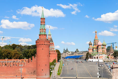 Moscow skyline - Vasilevsky Descent, Walls and Towers of Moscow Kremlin, Saint Basil Cathedral on Red Square of Moscow Kremlin in sunny summer day Redakční