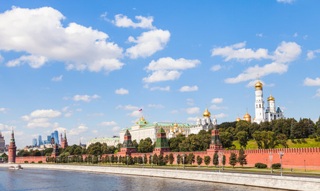 moscow: Moscow skyline - view of Moscow Kremlin from Moskva River in sunny summer day Editorial