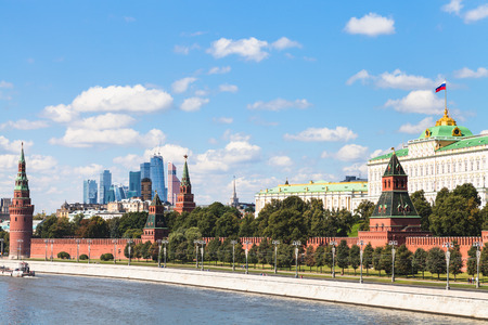 moscow city: Moscow skyline - Kremlin embankment, State Palace, Moscow City district in sunny summer day