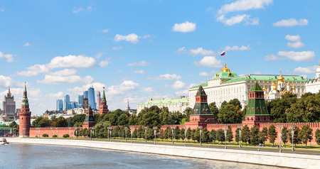moskva river: Moscow skyline - panoramic view of Moskva River, embankment, Kremlin, Moscow City district in sunny summer day