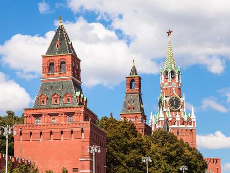 spasskaya: Moscow cityscape - Konstantino-Eleninskaya, Nabatnaya and Spasskaya Towers of Moscow Kremlin on Red Square