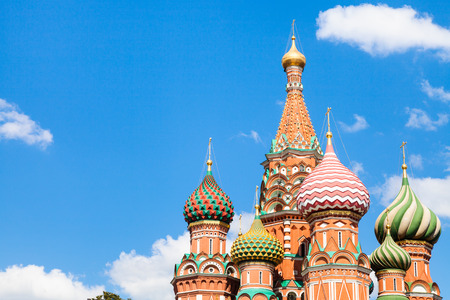 vasily: Vasily the Blessed cathedral on Red Square in Moscow and blue sky with white clouds in sunny summer day