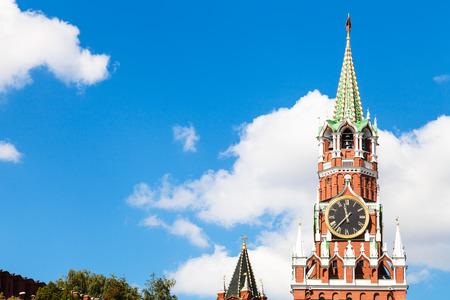 spasskaya: Moscow cityscape - Spasskaya clock Tower of Moscow Kremlin in sunny summer day Stock Photo