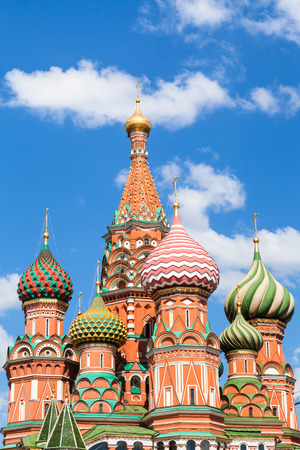 pokrovsky: Pokrovsky cathedral on Red Square in Moscow and blue sky with white clouds in sunny summer day Stock Photo