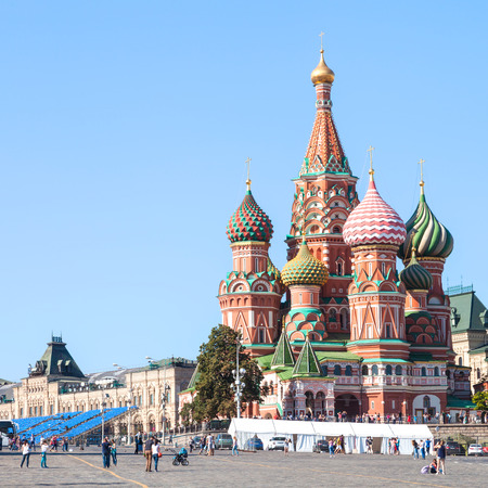 pokrovsky: Moscow cityscape - Pokrovsky Cathedral on Red Square of Moscow Kremlin in summer afternoon Editorial