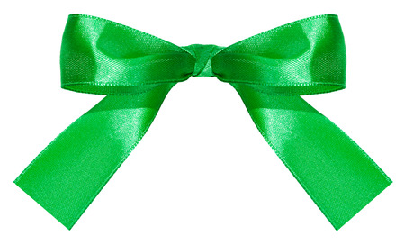 bow knot: green satin bow knot isolated on white background
