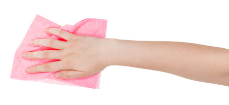 dusting: hand with pink dusting rag isolated on white background Stock Photo