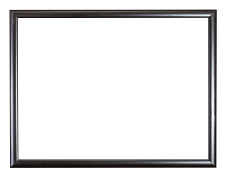 modern black narrow wooden picture frame with cut out blank space isolated on white background