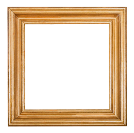 decorative shape: square golden lacquered wooden picture frame with cut out blank space isolated on white background