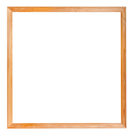 picture framing: modern simple square narrow wooden picture frame with cut out blank space isolated on white background