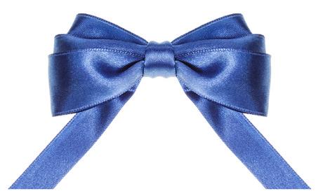 neckband: symmetric blue satin ribbon bow with horizontal cut ends isolated on white background Stock Photo