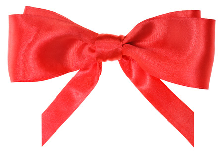 on a white background: real red silk ribbon bow with vertically cut ends isolated on white background