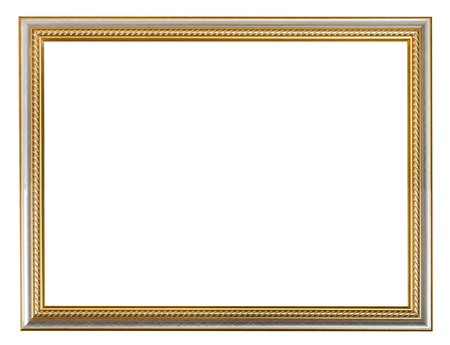 on a white background: golden carved wooden picture frame with cut out blank space isolated on white background