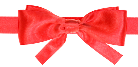 neckband: real red satin bow with square cut ends on ribbon close up isolated on white background