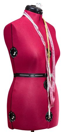 mannequin: tailleur factice - figure féminine mannequin rouge isolé sur fond blanc Banque d'images