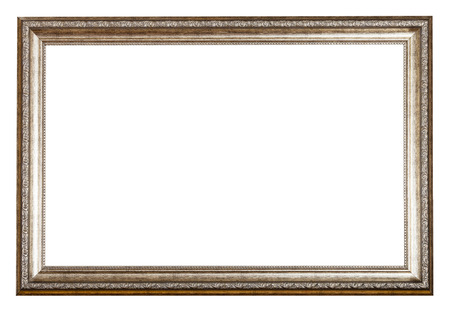 sliver: baroque style sliver wooden picture frame with cut out blank space isolated on white background Stock Photo