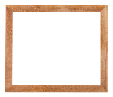 wood cut: modern simple flat wooden picture frame with cut out blank space isolated on white background
