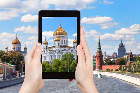 saviour: travel concept - tourist photographs picture of Cathedral of Christ the Saviour, Moscow on tablet pc