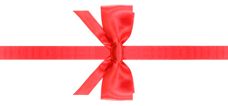 neckband: symmetric red satin bow with vertically cut ends on narrow ribbon isolated on white background Stock Photo