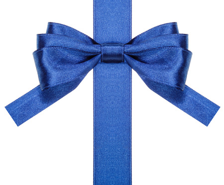neckband: symmetric blue satin bow with square cut ends on vertical ribbon close up isolated on white background