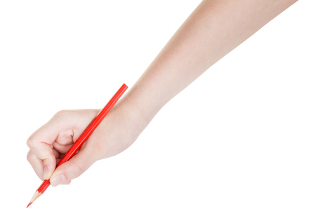 red pen: hand drafts by red pencil isolated on white background