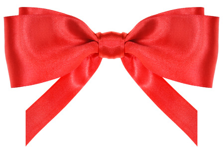 vertically: symmetrical red silk ribbon bow with vertically cut ends isolated on white background Stock Photo