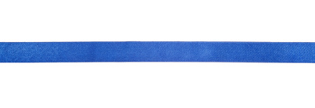 on a white background: narrow blue satin ribbon isolated on white background