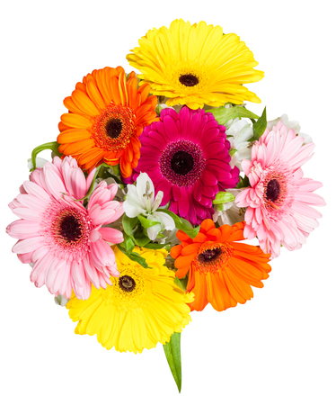 posy: above view of posy with gerbera flowers isolated on white background