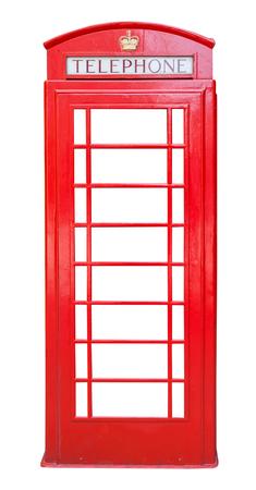 cabina telefono: Cabina de teléfono roja británica aislado en el fondo blanco Foto de archivo