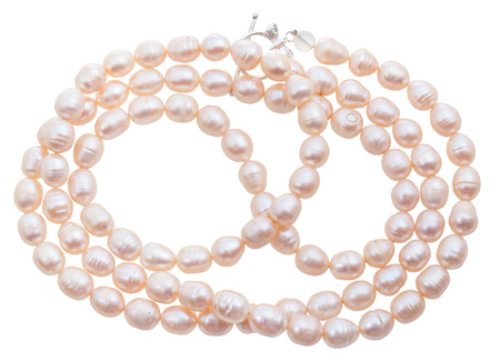 freshwater pearl: necklace from natural pink river pearls isolated on white background