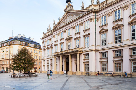 primates: BRATISLAVA, SLOVAKIA - SEPTEMBER 22, 2015: tourists near Primates Palace at Primacialne namestie (Primates square). The Palace was built from 1778 to 1781 for Archbishop Jozsef Batthyany.
