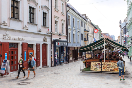baltic people: BRATISLAVA, SLOVAKIA - SEPTEMBER 23, 2015: people walk on Michalska street in Bratislava. In Middle Ages this street was part of a busy trade route linking the Baltic Sea with the Danube