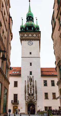 old town hall: BRNO, CZECH - SEPTEMBER 25, 2015: people near old Town Hall (Stara Radnice) tower in Brno city. Old Town hall (Stara Radnice) dates back to 13th century when Brno became a city