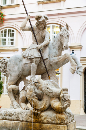 primates: travel to Bratislava city - Fountain of St. George and the Dragon in the courtyard of primates palace in Bratislava Editorial