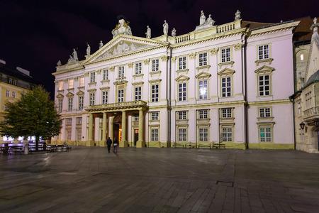 primates: travel to Bratislava city - Primates Palace at Primacialne namestie (Primates square) in night Editorial