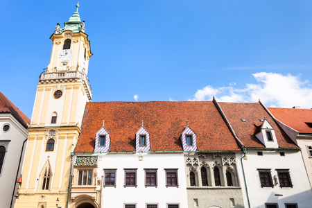old town hall: travel to Bratislava city - front view of Old Town Hall from Main Square in Bratislava Editorial