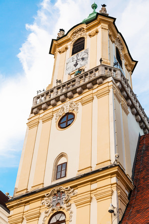 old town hall: travel to Bratislava city - view of tower of Old Town Hall from Main Square in Bratislava Editorial