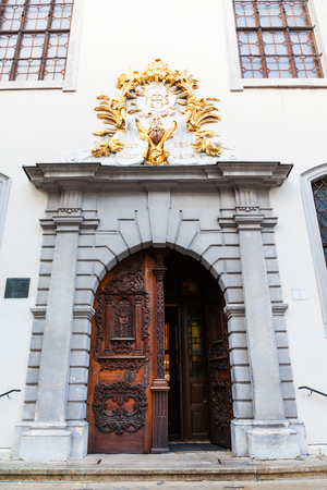 jesuit: travel to Bratislava city - doors of Jesuit Church (Holy Saviour Church) on the Franciscan Square in Old Town Bratislava