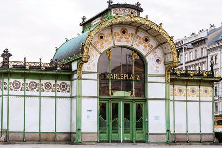 wagner: VIENNA, AUSTRIA - SEPTEMBER 26, 2015: entrance in Karlsplatz Stadtbahn Station in Otto Wagner Pavilion. Otto Wagner, architect of Viennas Art Nouveau era, was the designer of Stadtbahn around 1900 Editorial