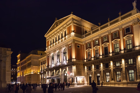 great hall: VIENNA, AUSTRIA - SEPTEMBER 26, 2015: tourists near Great Hall of Wiener Musikverein (Viennese Music Association), Austria. Musikverein is concert hall and home to Vienna Philharmonic orchestra