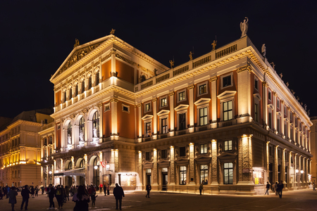 great hall: VIENNA, AUSTRIA - SEPTEMBER 26, 2015: people near Great Hall of Wiener Musikverein (Viennese Music Association), Vienna, Austria. Musikverein is concert hall and home to Vienna Philharmonic orchestra Editorial