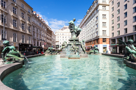 donner: VIENNA, AUSTRIA - SEPTEMBER 27, 2015: Donnerbrunnen fountain at Neuer Markt square. The original fountain was made by Georg Rafael Donner and Johann Nikolaus Moll in 1739, there are the copy from 1873 Editorial